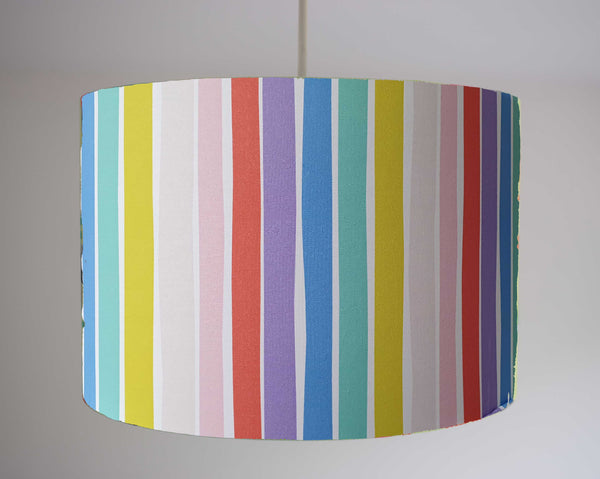bold rainbow stripe ceiling pendant light shade