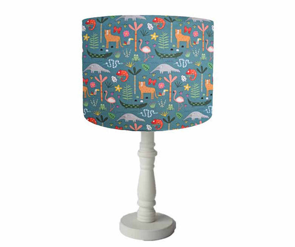 green jungle animal table lamp shade