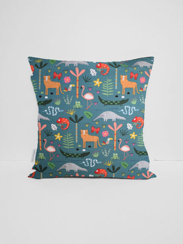 Green Rainforest Animal Cushion Cover