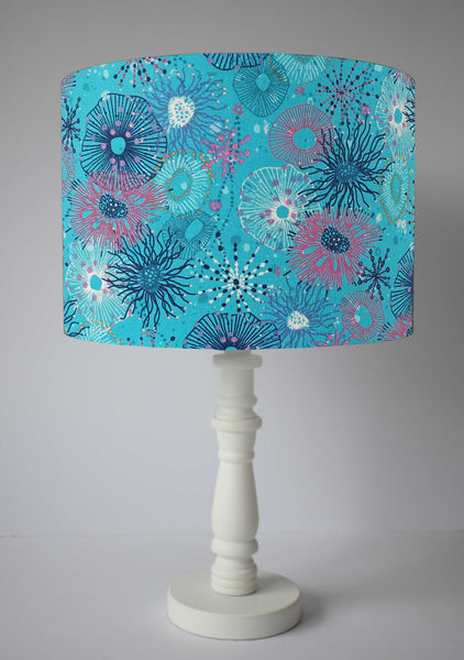 turquoise sea life inspired table lamp shade