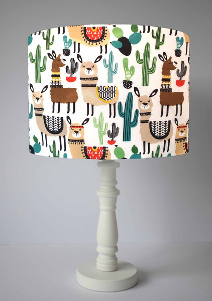 llama, alpaca and cacti kids table lamp shade