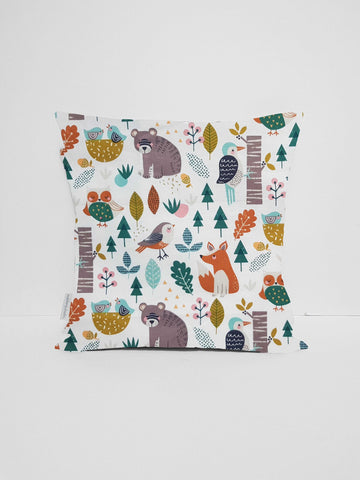 Woodland Animals Cushion, Neutral Nursery Decor