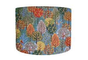 Woodland Trees on Green Lampshade