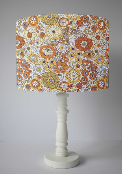 70s style kitsch flower power table lamp shade