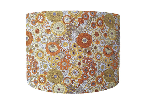 yellow retro floral lampshade