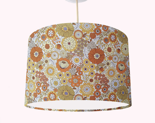 orange and yellow retro flowers ceiling pendant light shade