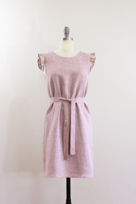 Elisabetta Bellu SS2020 Azalea handmade pink linen loose fit a line short belted dress ruffled armholes front
