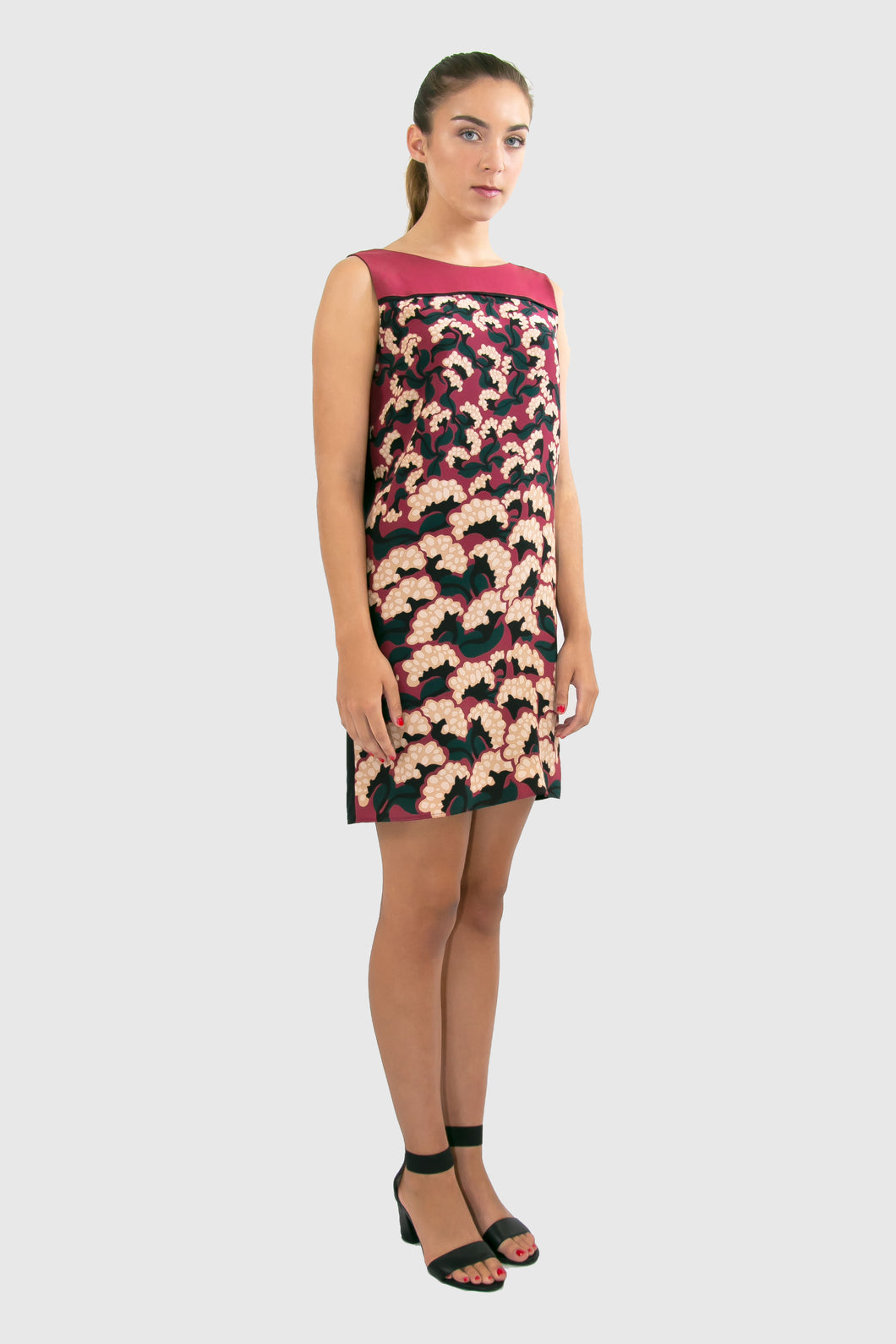 Elisabetta Bellu Anita red floral printed china silk and black crepe de chine dress