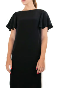 Elisabetta Bellu Alessandra black crepe de chine cocktail dress with fluted sleeves
