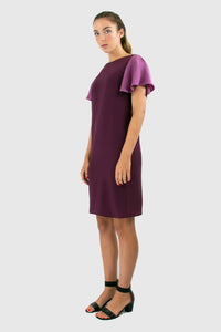Elisabetta Bellu Alessandra purple silk cocktail dress with fluted sleeves
