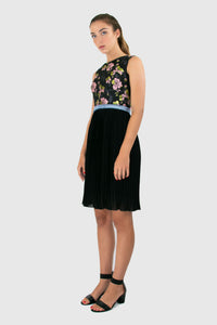 Elisabetta Bellu Elvira floral brocade and pleated chiffon cocktail dress