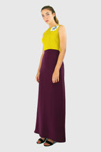 Elisabetta Bellu Ciana  moire and purple crepe de chine gown long dress with metallic pastel embroidery