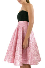 Elisabetta Bellu Gianna pink floral crispy brocade circle cocktail elegant skirt