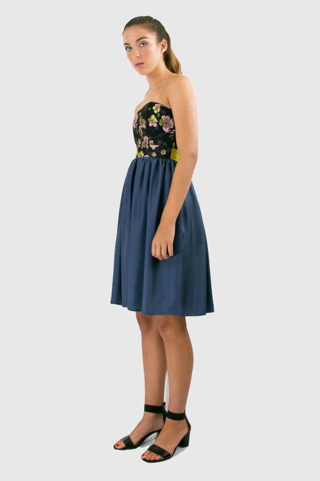 Elisabetta Bellu Rosa blue silk twill gathered skirt with floral brocade and lime faille belt