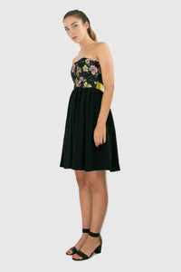 Elisabetta Bellu Rosa black silk twill gathered skirt with floral brocade and lime faille belt