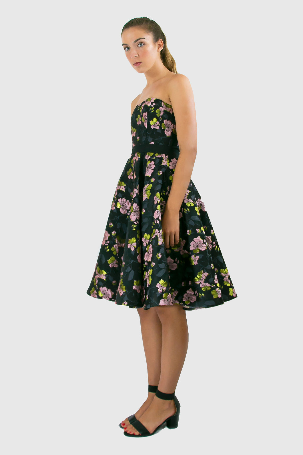 Elisabetta Bellu Marina black, lime and pink floral brocade cocktail dress