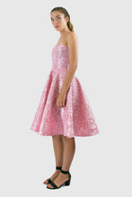 Elisabetta Bellu Marina metallic pink floral brocade cocktail dress