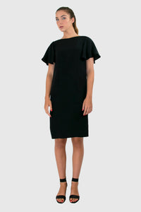 Elisabetta Bellu Alessandra black silk cocktail dress with fluted sleeves