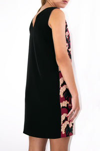 Elisabetta Bellu Anita red floral printed china silk and black crepe de chine dress back