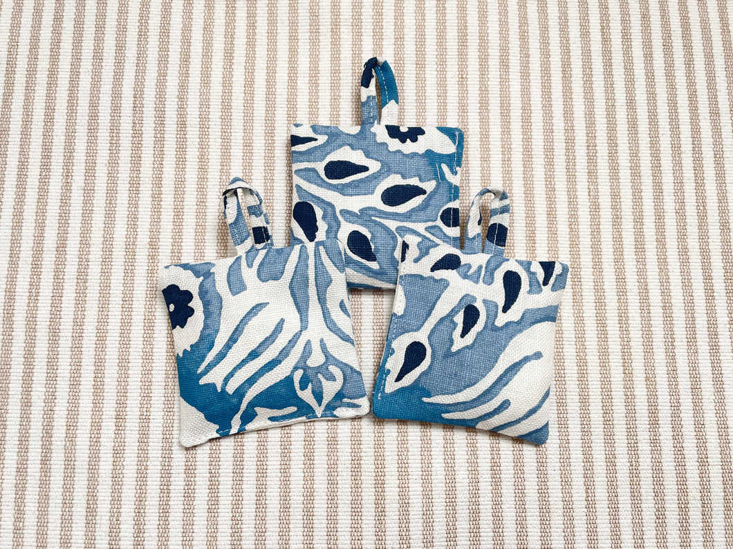 Elisabetta Bellu handmade Galbraith & Paul orange essential oil citrus linen sachet blue white floral closet drawer freshener