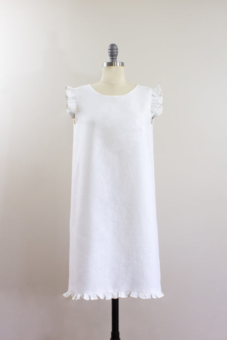 Elisabetta Bellu SS2020 Camellia handmade white linen loose fit a line short dress ruffled armholes and bottom front