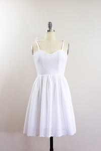 Elisabetta Bellu SS2020 Dahlia handmade white cotton eyelet short dress with full gathered skirt front