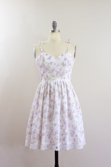 Elisabetta Bellu SS2020 Dahlia handmade floral cotton seersucker short dress with full gathered skirt front