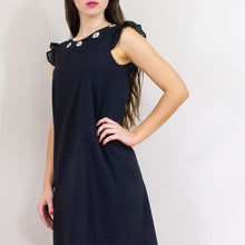 Elisabetta Bellu Dede A- line cotton voile eyelet black dress