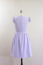 Elisabetta Bellu SS2020 Iris handmade lavender cotton seersucker short dress with gathered skirt and ruffled armholes V neck back