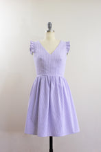 Elisabetta Bellu SS2020 Iris handmade lavender cotton seersucker short dress with gathered skirt and ruffled armholes V neck front