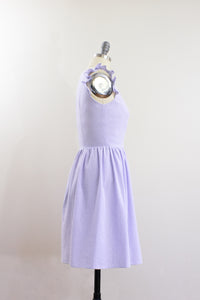 Elisabetta Bellu SS2020 Iris handmade lavender cotton seersucker short dress with gathered skirt and ruffled armholes V neck side