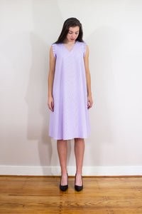Elisabetta Bellu Lila lavender and white striped cotton seersucker trapeze dress