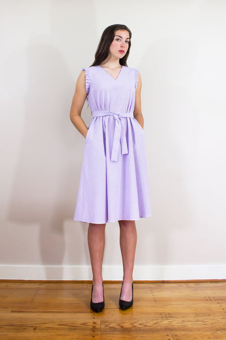 Elisabetta Bellu Lila white and lavender seersucker striped trapeze dress