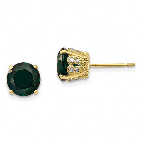 10K Yellow Gold Tiara Collection Diamond and Lab Created Emerald Post Earrings