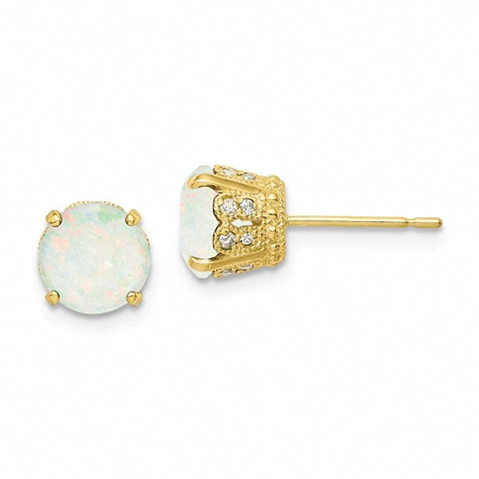 Beautiful 10K Tiara Collection Polished Diamond Lab Created Opal Post Earrings