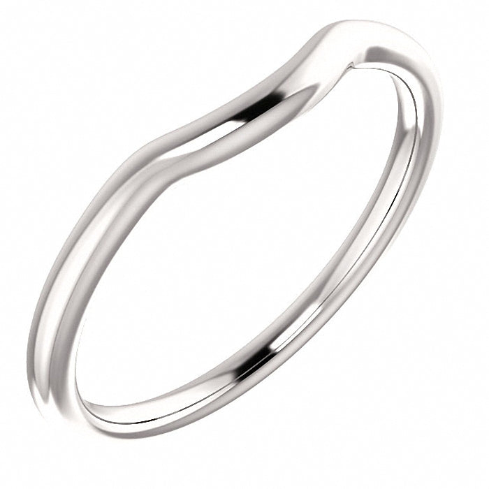 14K White Contour Ring Band