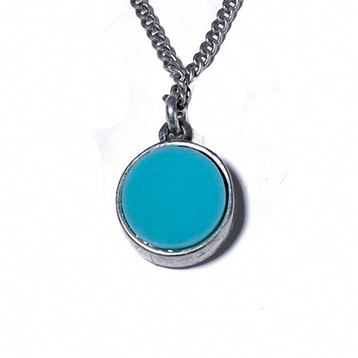12mm round Turquoise Simulant and Sterling Silver Pendant Necklace