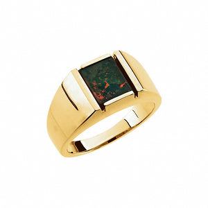 14K Yellow Bloodstone Men's Ring