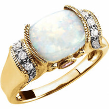 Load image into Gallery viewer, 14K Yellow Gold, Opal, Pink Tourmaline & 1/6 CTW Diamond Ring
