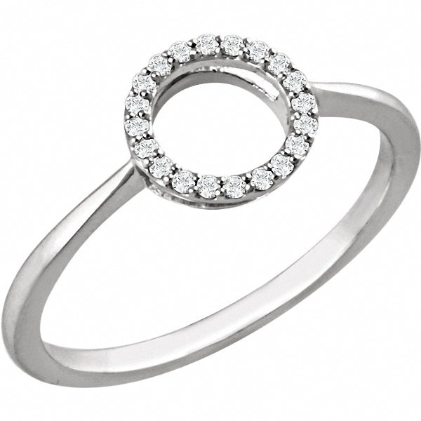 14K White 1/10 CTW Diamond Circle Ring