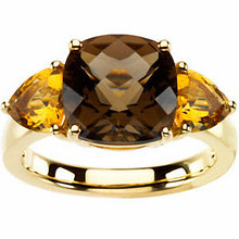 Load image into Gallery viewer, Smoky Quartz & Citrine 3-Stone Ring - Size 7