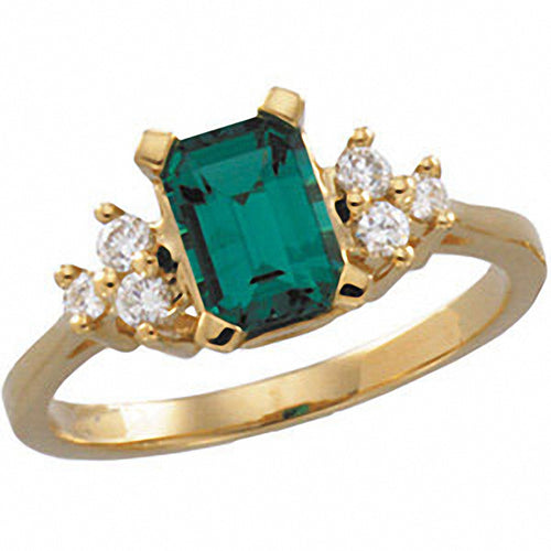 14k Yellow Gold Chatham® Created Emerald & Diamond Accented Ring