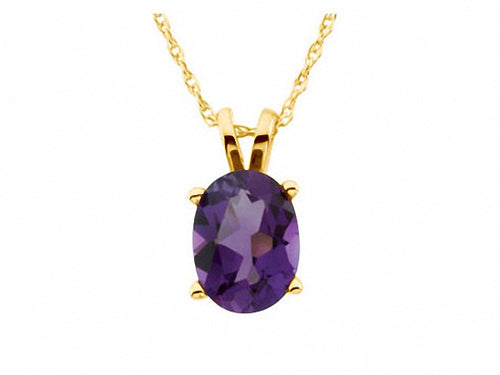 14K Yellow 8x6mm Oval Amethyst Solitaire 18