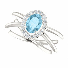 Load image into Gallery viewer, Beautiful Sterling Silver Aquamarine & 1/8 CTW Diamond Ring