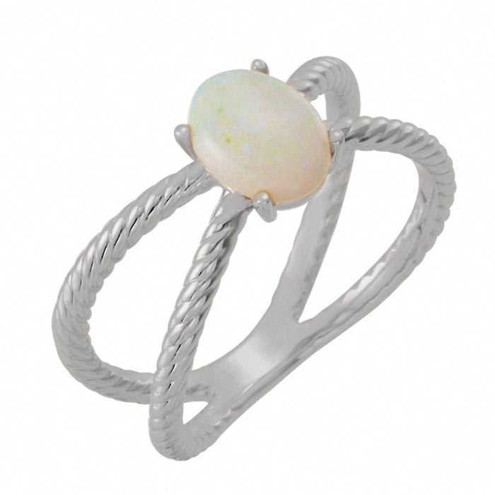 14K Gold Opal Cabochon Rope Ring