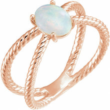 Load image into Gallery viewer, 14K Gold Opal Cabochon Rope Ring