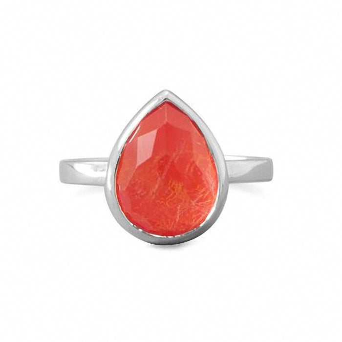 Large Pear Shape Freeform Faceted Quartz over Reconstituted Coral Stackable Ring
