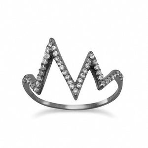 Ruthenium Plated CZ Heartbeat Design Ring