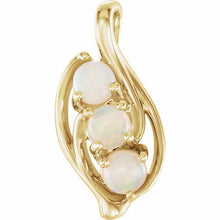 Load image into Gallery viewer, 14K Gold and Opal Three-Stone Pendant