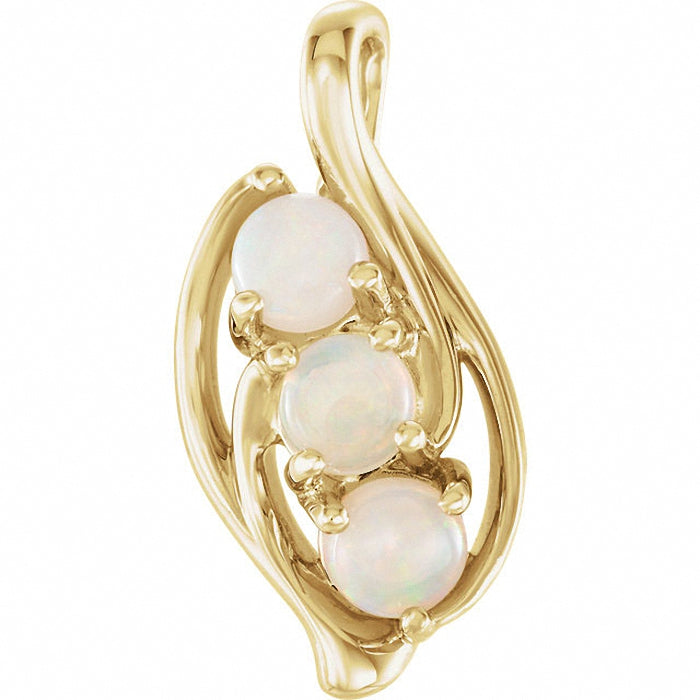 14K Gold and Opal Three-Stone Pendant
